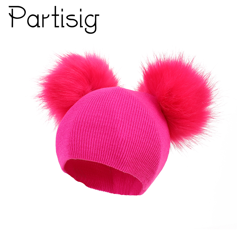 Baby Hat Crochet Double Pompom Baby Cap For Girls Faux Fur Baby Girls Hat Winter Kids Caps new russia fur hat winter boy girl real rex rabbit fur hat children warm kids fur hat women ear bunny fur hat cap
