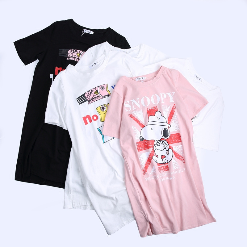 Pregnancy Summer Pure Cotton Short Sleeved T-shirt 2018 New Loose Dresses for Pregnant Women Clothes Cartoon Maternity Gown