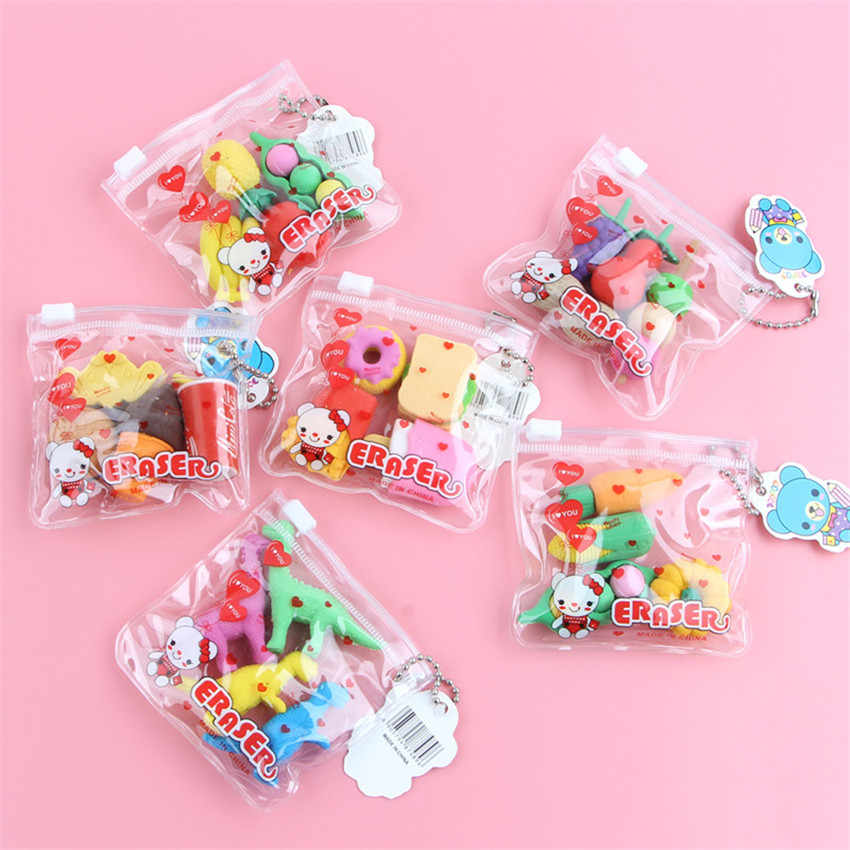 1pack/lot Kawaii Eraser Cartoon Food Animal Special Shape Eraser Set Cute Stationery Student Gifts Children Toy School Supplies