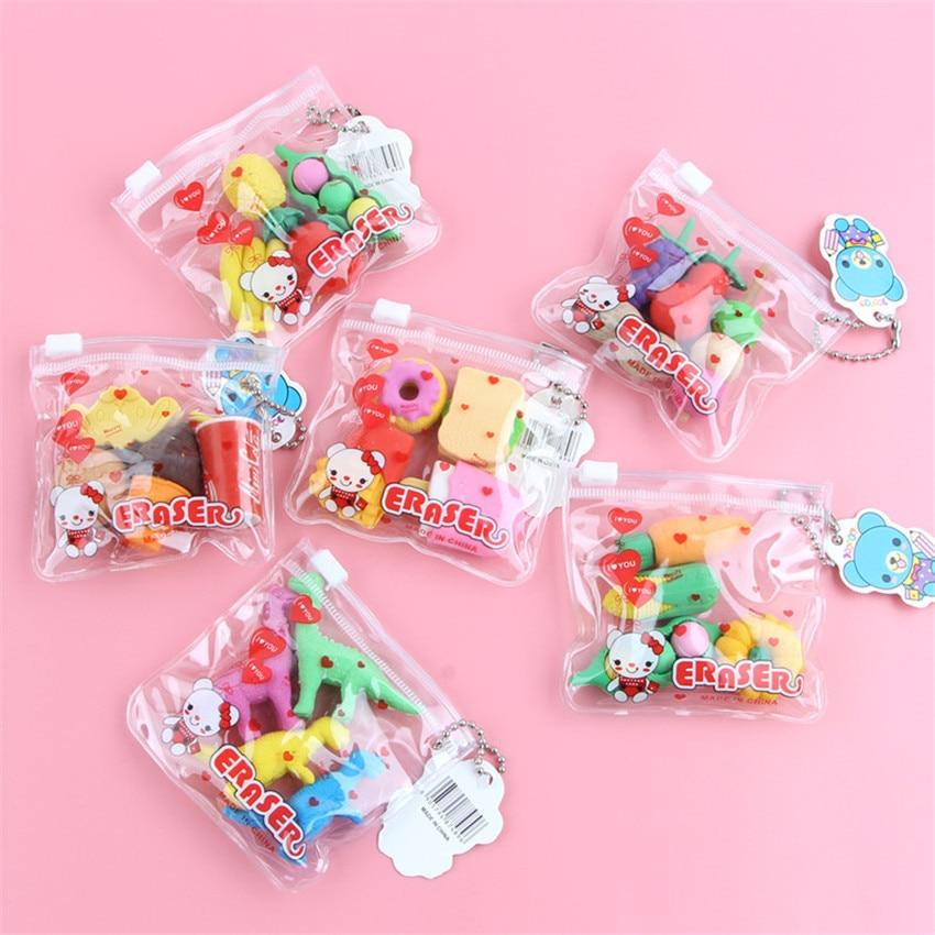 1pack/lot Kawaii Eraser Cartoon Food Animal Special Shape Eraser Set Cute Stationery Student Gifts Children Toy School Supplies