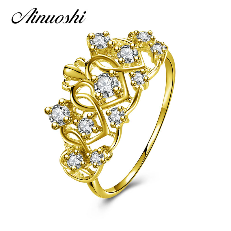 AINUOSHI Exquisite Queen Crown Ring 10K Solid Yellow Gold Flower Ring Women Jewelry Engagement Wedding Birthday Party Heart Ring haggard h queen sheba's ring