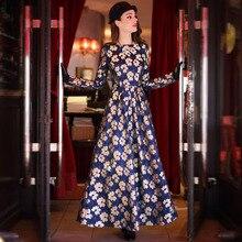 2016 Plus Size XXL XXXL Long Sleeve Women Long Dress Spring Elegant Flowers Lace Pleated Maxi Long Dresses Vestidos Mujer