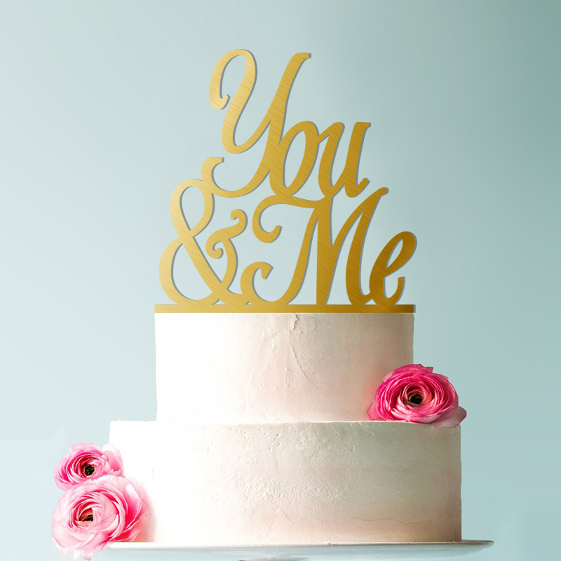 You Me Wedding Cake Topper Script You and Me Cake Topper Elegant Wedding Cake Topper in Cake Decorating Supplies from Home Garden