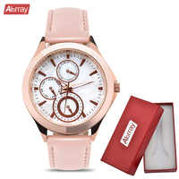 Abrray Chronograph Woman Watches Casual Rose Gold Ladies Quartz Watch Mother OF Pearl Dial Wristwatch Case