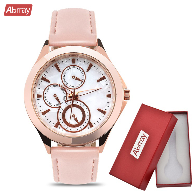 Abrray Chronograph Woman Watches Casual Rose Gold Ladies Quartz Watch Mother OF Pearl Dial Wristwatch Case PU Leather Clock