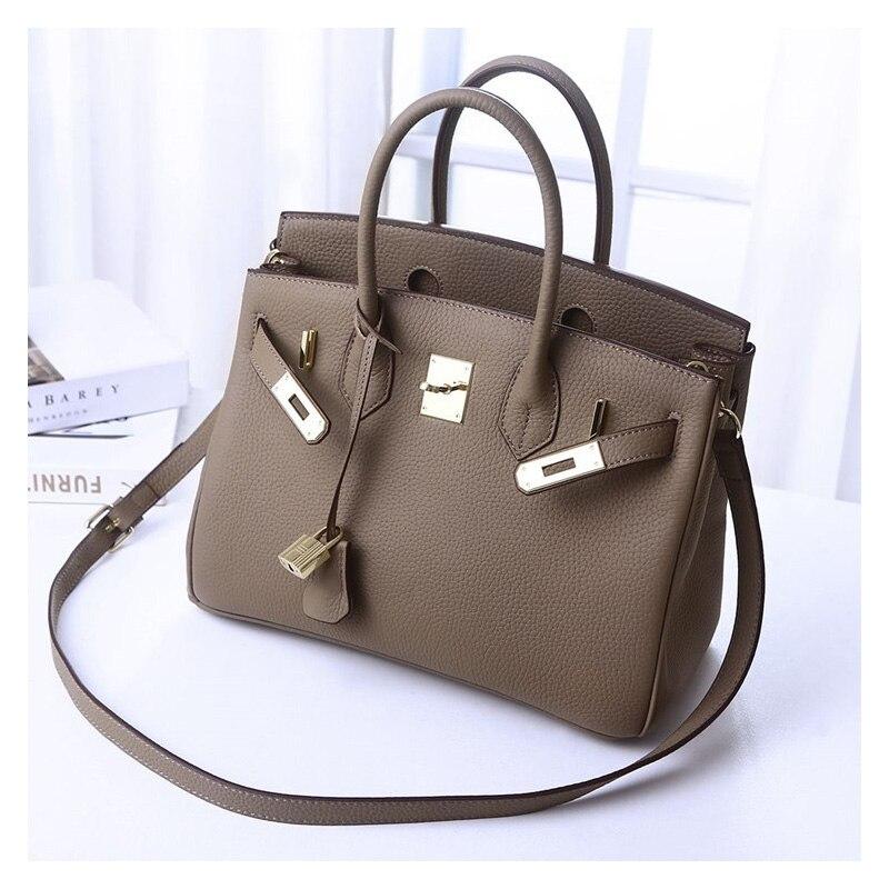 Femmes de luxe marque en cuir véritable serrure sacs à main femme messenger sacs designer décontracté dames fourre-tout sacs à bandoulière Bolsa Feminina