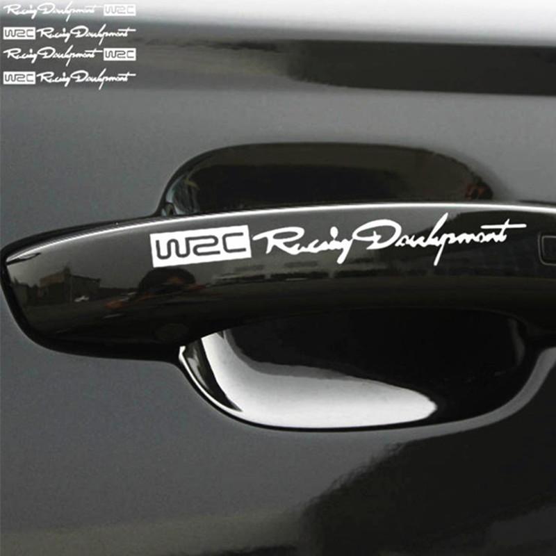 Car-styling WRC Logo Door Handle Reflective Stickers for Land Rover LR4 LR3 LR2 Range Rover Evoque Defender Discovery Freelander