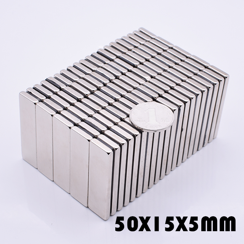 5Pcs 50x15x5 mm neodymium magnet super powerful neodymium magnets free shipping rare earth magnet N35 strong magnet <font><b>50*15*5</b></font> mm image