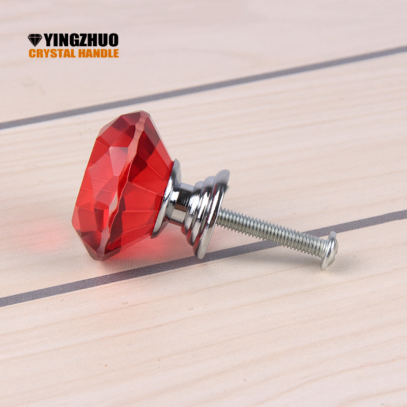 2017 Puxadores 30mm Modern Furniture K9 Red Crystal Glass Handle 10pcs Bar Wine Cabinet Door Fashion Diamond Knob Decoration дверная ручка door handle puxadores hg h14122501