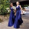 A line Sexy Bridesmaid Dresses V-Neck Long Pleats Elegant Sleeveles New Custom Made Wedding Party Gowns Cheap Bridesmaid Dresses