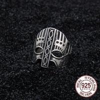 sterling silver 925 viking Warrior helmet adjustable ring as gift with vintage wood viking box