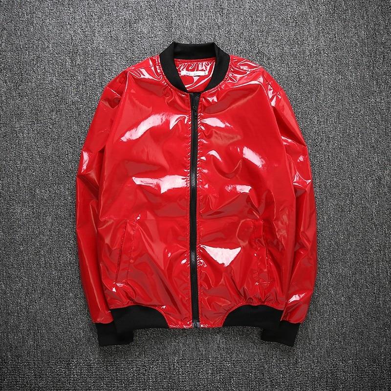 Hommes col montant manteaux brillant slim fit veste discothèque brillant mode preppy imperméable coupe-vent c98