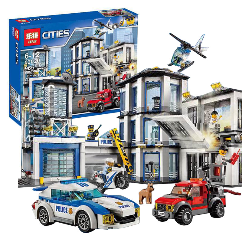 Lepin 02020 965Pcs City Series The New Police Station Educational Building Blocks Bricks Boy Toys Model Gift Compatible 60141 lepin 02012 city deepwater exploration vessel 60095 building blocks policeman toys children compatible with lego gift kid sets