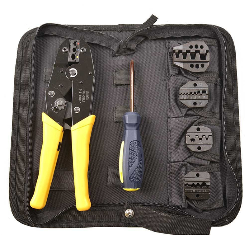 цена на 4 Interchangeable Jaws Insulated Cable Connectors Terminal Ratchet Crimping Wire Crimper Plier Tool Kit