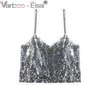 VARBOO_ELSA Summer Crop Top Women Silver Sequin Cami Sexy Crop Top Straps Tanks Top Slim Backless Night Club Party Camisole