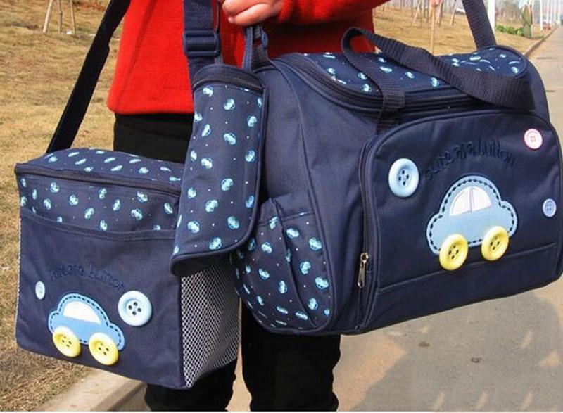 402914cm 4PCS Car Print Mother Bag Baby Diaper Bags Sets Multifunctional Baby Nursing Nappy Bag For Mom Organizer Portable (2)