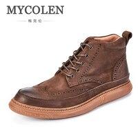 MYCOLEN/Новые Брендовые мужские ботинки из натуральной кожи; модная мужская обувь из коровьей кожи; Мужская однотонная зимняя обувь из плюша;