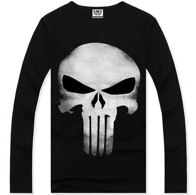 f90bea00 2015 100% cotton Cool Style Skull Skeleton T Shirt The Punisher Black Full  Sleeve T-shirt Men Clothing Top Tees For Summer