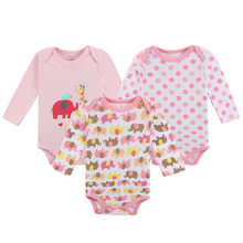 3 Pack Baby Girl Bodysuits with Long Sleeves 100% Cotton Cute Elephants Print Snap Buttons 0-12 Months