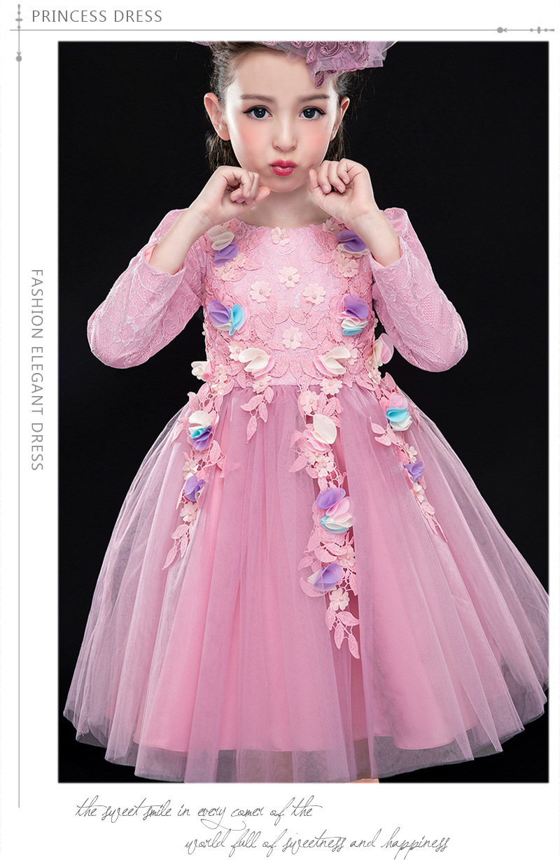 Girls Dress Long Sleeve Brand Princess party Dress Girls Clothes lace flower embroidery tutu dress toddler girls clothing autumn original brand lalaloopsy dress yarn design false two dumbo sleeve queen girls party striped dress school girls princess dress