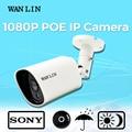 Lin wan poe ip câmera 2.0mp bala sony 1080 p ao ar livre câmera de vigilância de vídeo de segurança p2p onvif à prova d' água 40 m de visão noturna