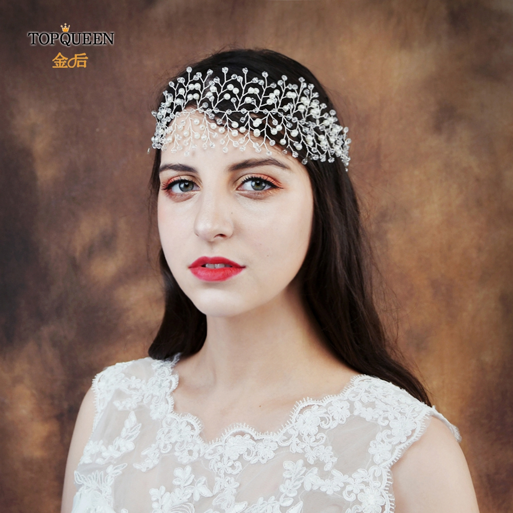 TOPQUEEN HP55 Newest Crystal Pearl Bridal Headbands Bridal Wedding Hair Vines  Accessories Head Handmade Headpieces Two Colors