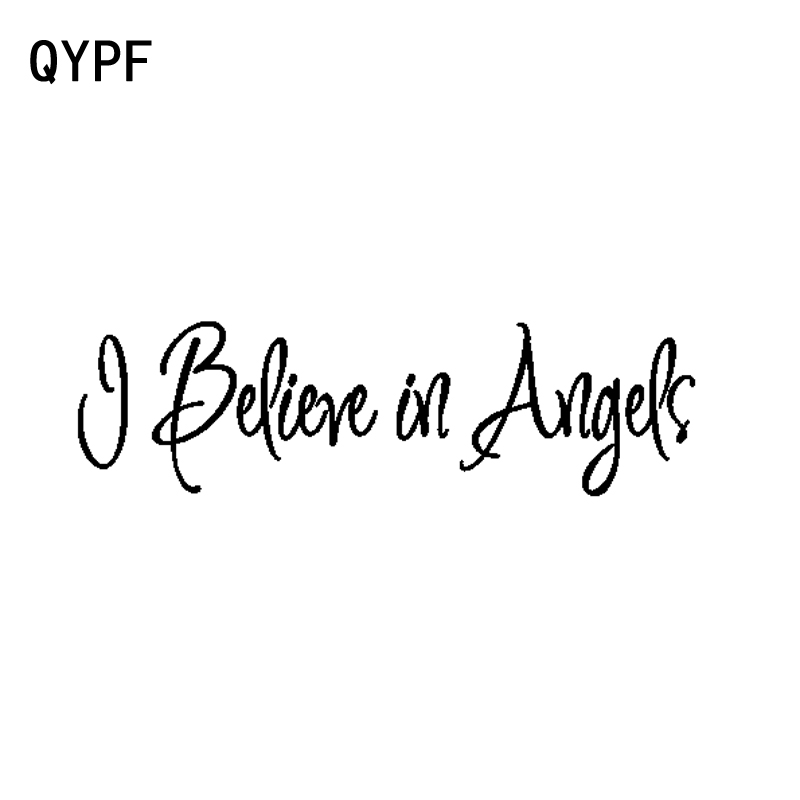 QYPF 14CM*4CM Interesting I Believe In Angels Vinyl Motorcycle Car-styling Decal Car Sticker Graphical C15-2263