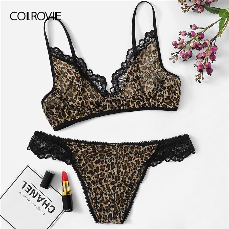 COLROVIE Lace Trim Leopard Lingerie   Set   Women Intimates 2019 Summer Sexy   Bra   And Panty   Sets   Female Wireless   Briefs   Underwear   Set
