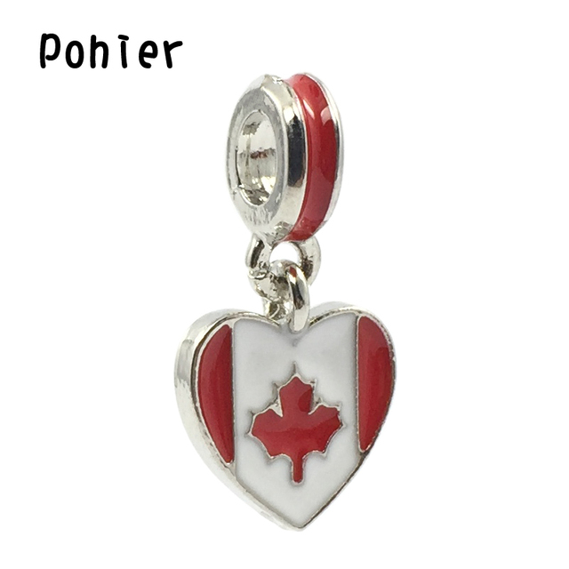 Canada Flag ,White&Red Enamel Heart Pendant Charms European Beads Fit Pandora Charms Bracelets&Bangle DIY Jewelry B00425