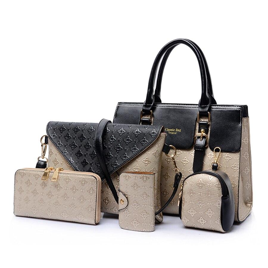 5pcs Bag Set For Women 2020 Luxury Handbags Leather Messenger Bags Fashion Crossbody Shoulder Bags Ladies Tote Clutch Bag Purse