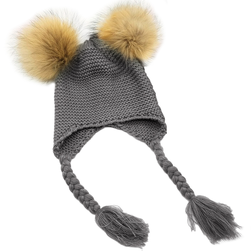 75ba5572457 Aliexpress.com   Buy New Winter Warm Baby Knit Hat Double Faux Fur Pom Pom  Hats Boy Girls Natural Fur Ball Beanie Kids Caps Two Fur Pompoms Bonnets  from ...