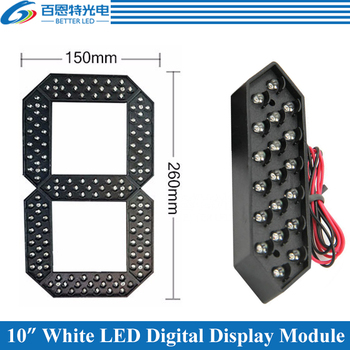 "4pcs/lot 10"" White Color Outdoor 7 Seven Segment LED Digital Number Module for Gas Price LED Display module"