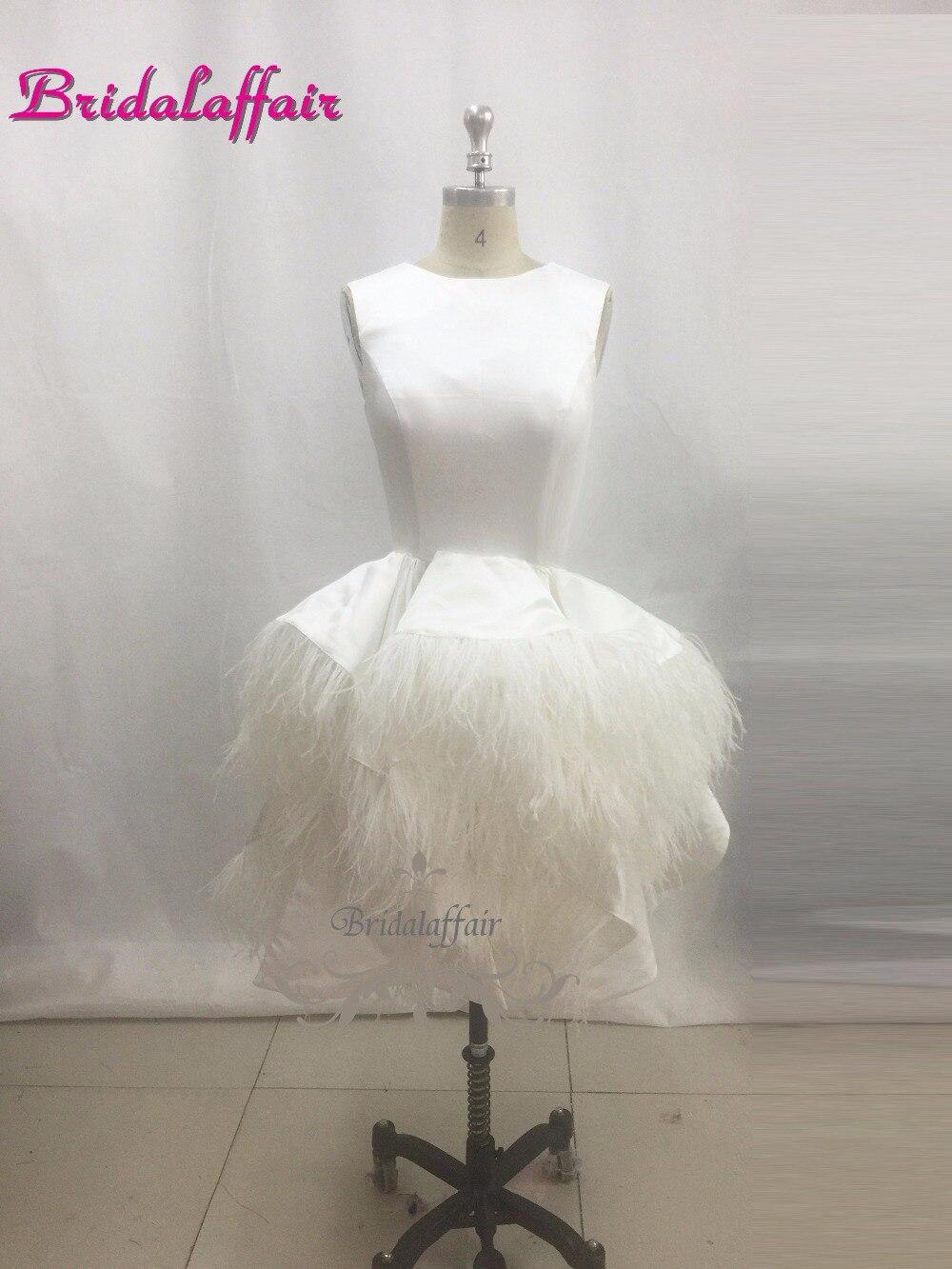 Sexy noir courte robe de bal o-cou Tulle robe courte robe de soirée 2018 femmes robes formelles Satin robes de soirée avec plume