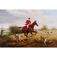 Canvas art Landscapes Heywood Hardy oil paintings reproduction The Fox Hunt hand painted horses riding picture for wall decor