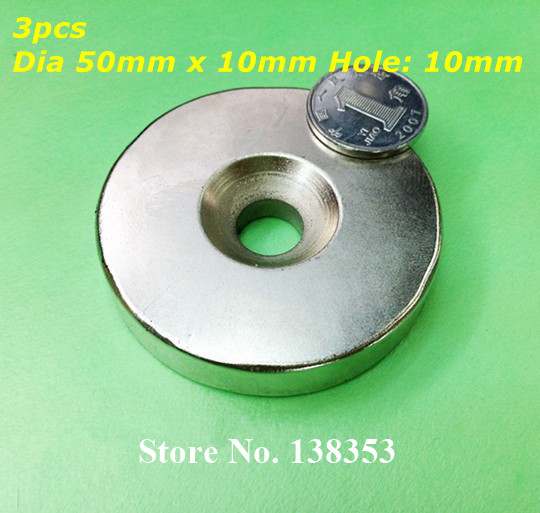 Wholesale 3pcs Super Strong Neodymium Countersunk Ring Magnets Dia 50mm x 10mm With Hole 10mm N35 Round Rare Earth NdFeB Magnet 100pcs 10 x 3mm hole 3mm n50 strong ring magnet d countersunk rare earth neodymium magnets permanent magnet 10mm x 3mm hole 3mm