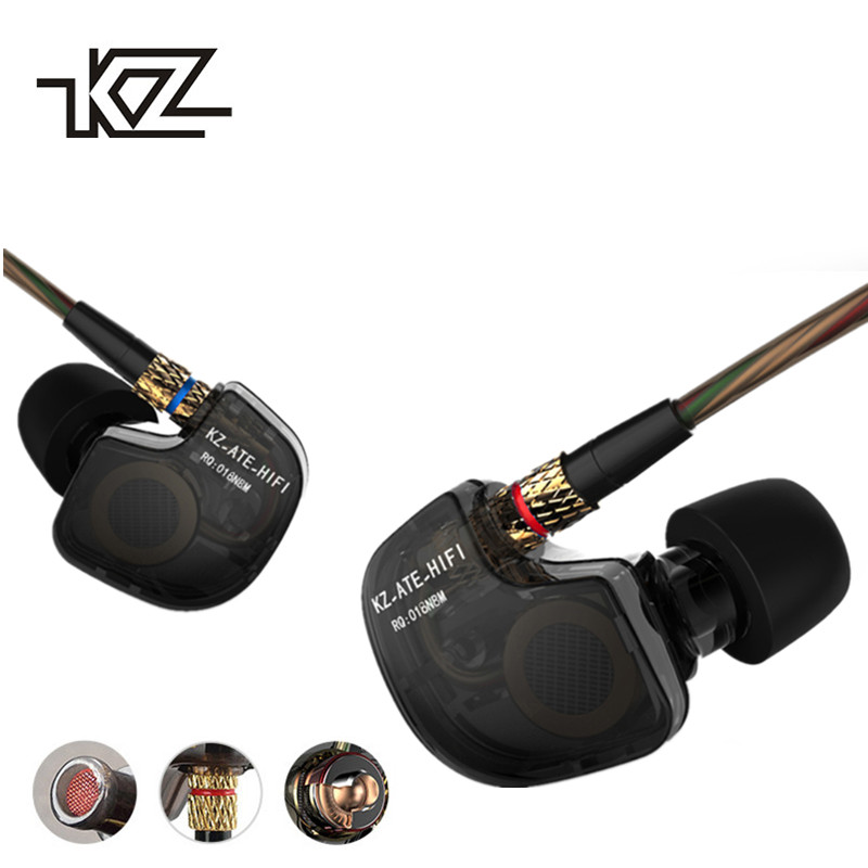 KZ ATES In-Ear Earphone ATE HiFi Earphones ATR Earphone With Mic HD9 Copper Driver Earphone For Running With Microphone kz ate kz ate translucent in ear earphone hifi music bass headset earphones noise isolating phone pc earphones headsets