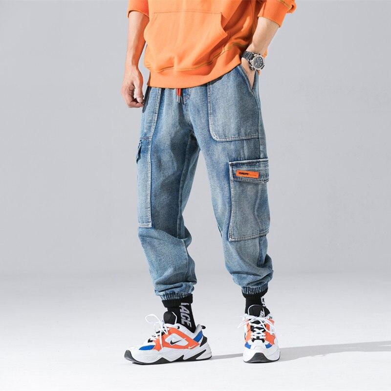 Hip Fit Giapponese Uomini Streetwear blu Hop Stile Loose Pantaloni Moda  Nero Degli Dei Jeans Cargo Blu Il Harem ... 7eae3aa1913e