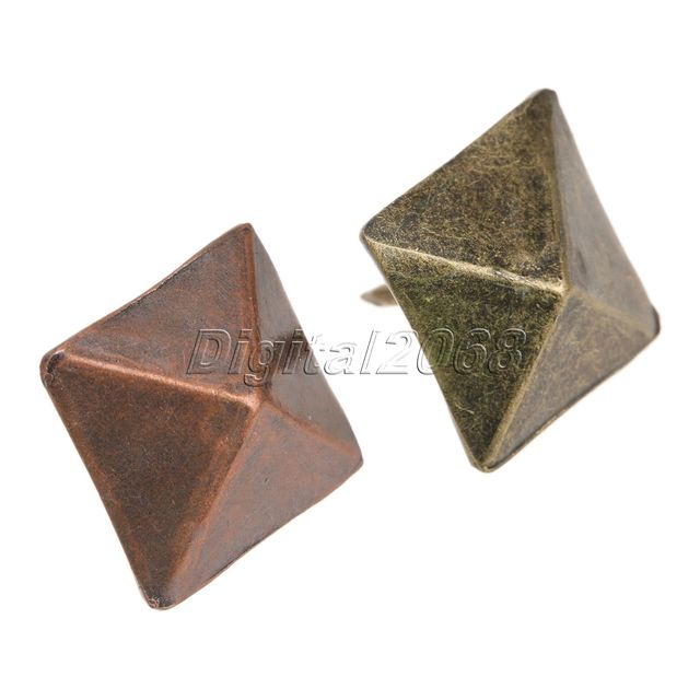 US $11 0 20% OFF|bowarepro 50Pcs Nails Decorative Upholstery Nail Copper  Pyramid Square Rivet Tack For Leather Crafts Furniture Tool 19x19x21mm-in