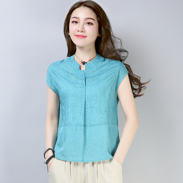 2018 Harajuku Summer Linen T Shirt Women Short Sleeve Solid Color Tshirt Plus  Size Women Tops T-shirt Camisetas Mujer streetwear 7fc449830fad