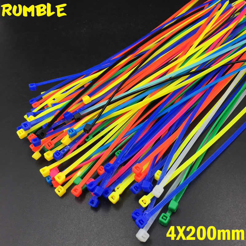 4X200MM Self-Locking Plastic Nylon Wire Cable Zip Ties 100pcs Mix Color Cable Tie Fasten Loop Cable Different Color