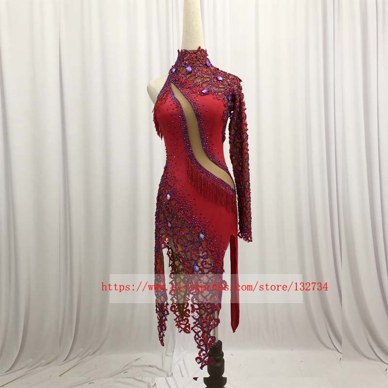New style Latin dance costume of 2019 spandex tassel stones latin dance dress for women latin dance competition dresses