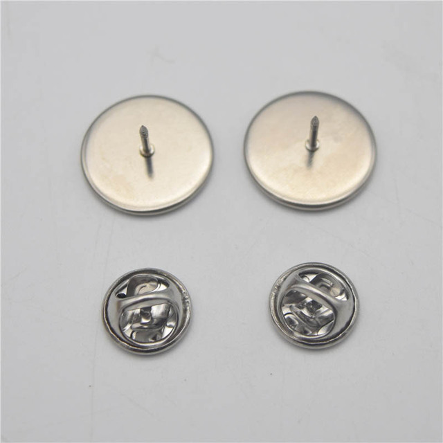 23a8fd86a6cd 10set Stainless Steel Lapel Pin Brooch Base Settings 6-20mm Silver Tone Tie  Tack Blank