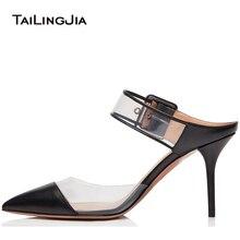купить Women Elegant Pointed Toe High Heel Mules Transparent PVC Slingback Buckle Sandals Dress Shoes Ladies Summer Heels Mid Heel 2018 по цене 3425.86 рублей