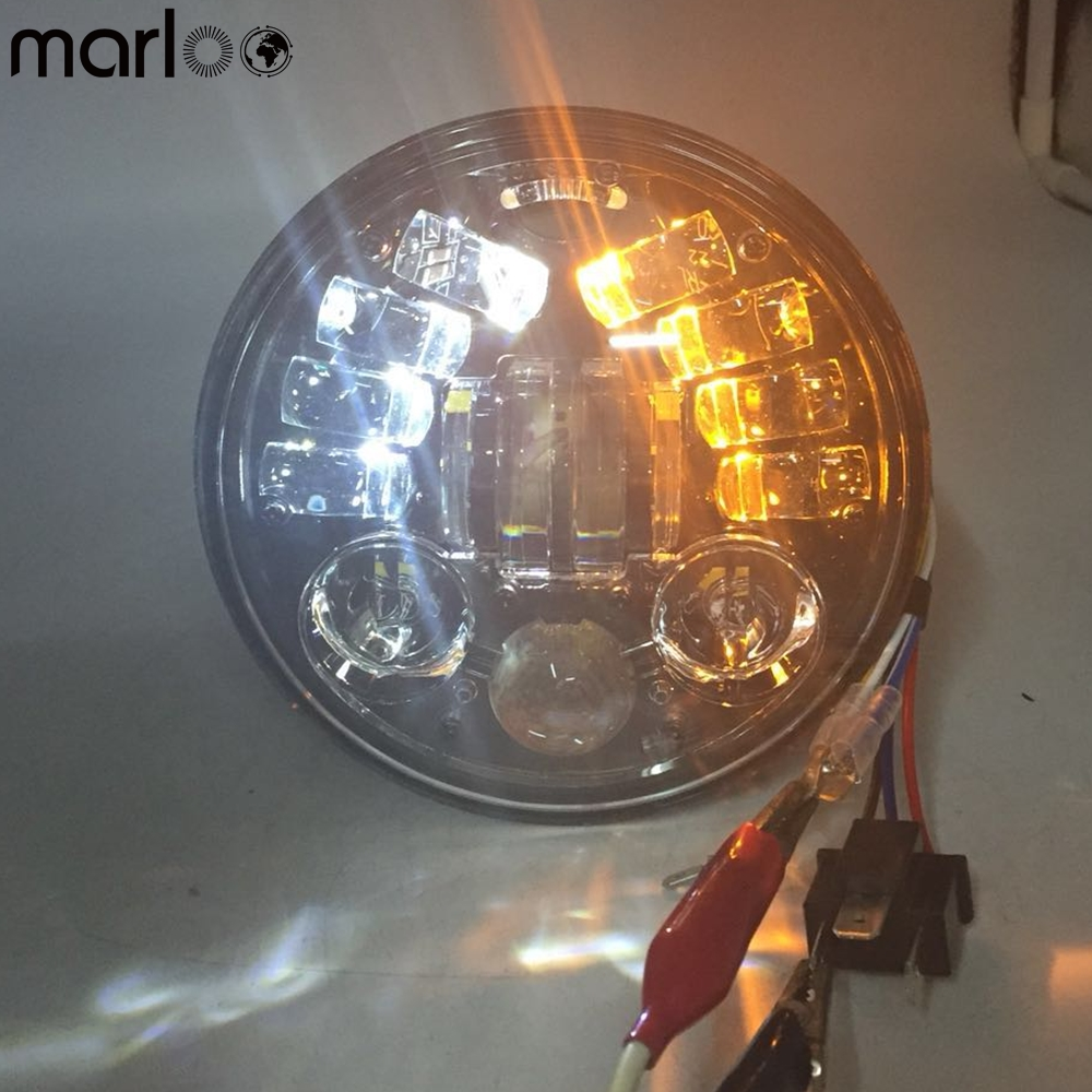 Marloo 5-3/4 Round Headlamp Harley Dyna Sportster 1200 48 883 Turn Signal Light Daymaker 5.75 Inch Projector LED Moto Headlight душевая дверь в нишу vegas zp zp 0115 08 01