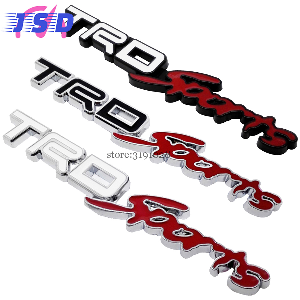 Car styling auto emblem decals decoration metal body badge stickers for trd sports trd sports logo for toyota tundra yaris camry