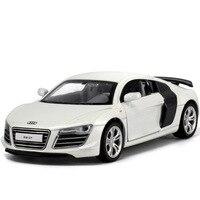 Hot koop 1:32 voor audi r8 legering modellen cars modellen kids toys groothandel metalen luxe diecasts voertuigen roadster modellen