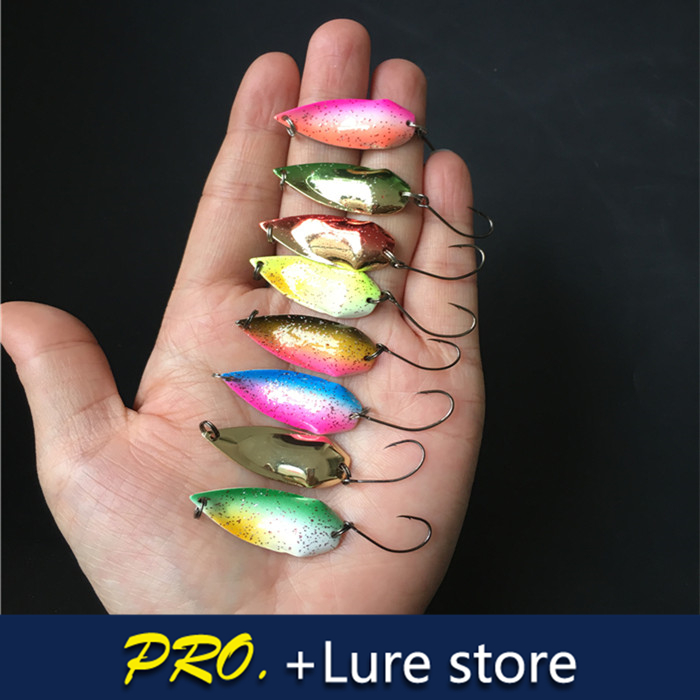 Free shipping 16pcs Bass Copper Spoon Fishing Lure Metal Lures Hard Baits Spoon Mixed Colours Isca Artificial Trout Lure 10pcs box metal spoon fishing lure hooks spinner baits sequins hard artificial jigging lure kits isca fishing tackle accessories