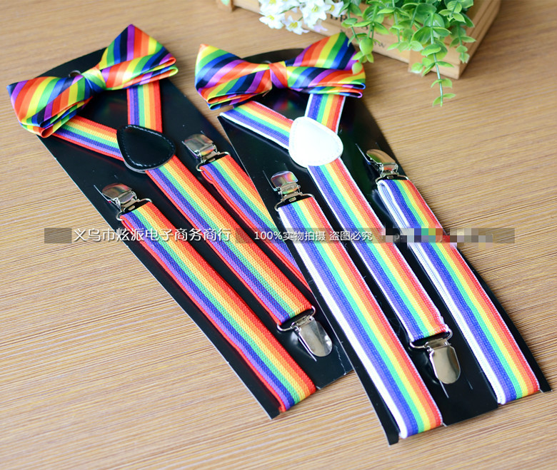 Men And Women Rainbow Striped Suspender Universal Tie Strap Jacket Adult Shirt Holder Wholesale 10pcs/lot