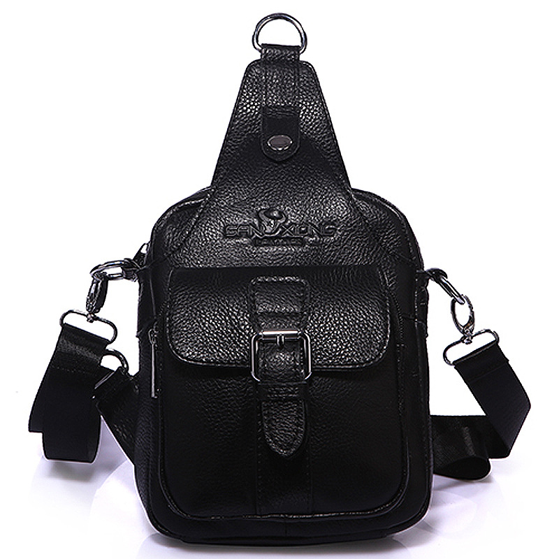 Brand Genuine Leather Sling Bag Men's Chest Pack Male Cross Body Shoulder Messenger Bags Travel Cell Phone Wallet Punch Case brand genuine leather casual chest pack sling bag men s cross body shoulder bags male cowhide messenger bag for ipad mini wallet