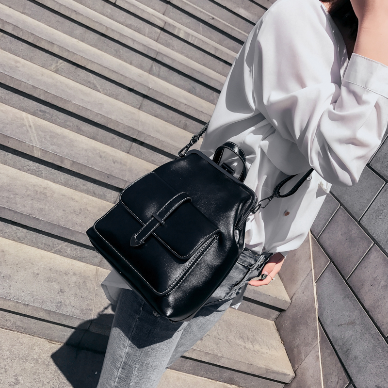 Leftside Brand Retro Hasp Back Pack Bags Pu Leather Backpack Women School Bags For Teenagers Girls Luxury Small Backpacks #3